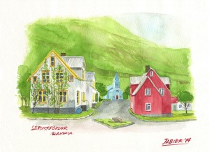 Vista de la pequeña villa de Seydisfjordur que da nombre al fiordo en el que esta situada.
