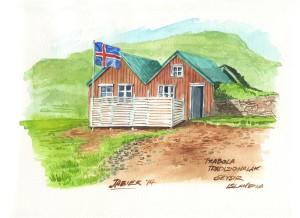 Etxola tradizionalak Islansiako Geysir herrian.