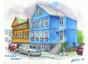 Casas de chapa ondulada en Rejkyavik.